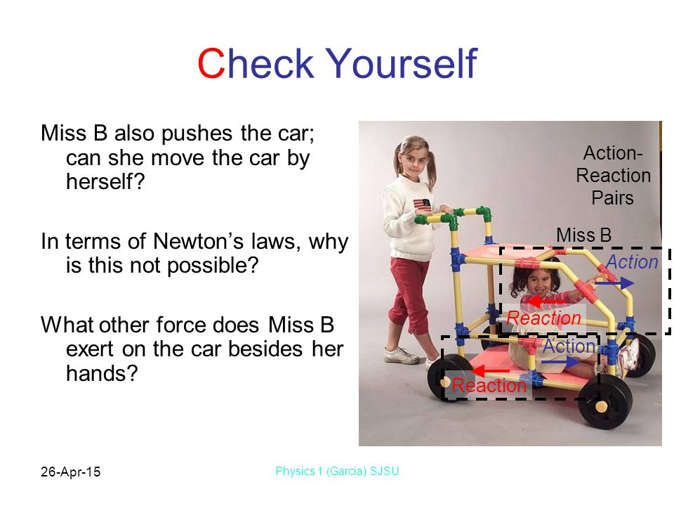 Check Yourself Miss B also pushes the car; can she move the car by herself In terms of Newton's laws, why is this not possible