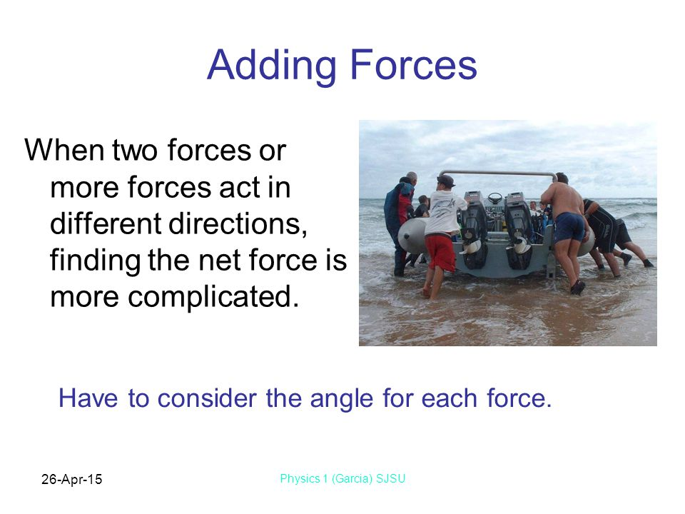 Adding Forces When two forces or more forces act in different directions, finding the net force is more complicated.