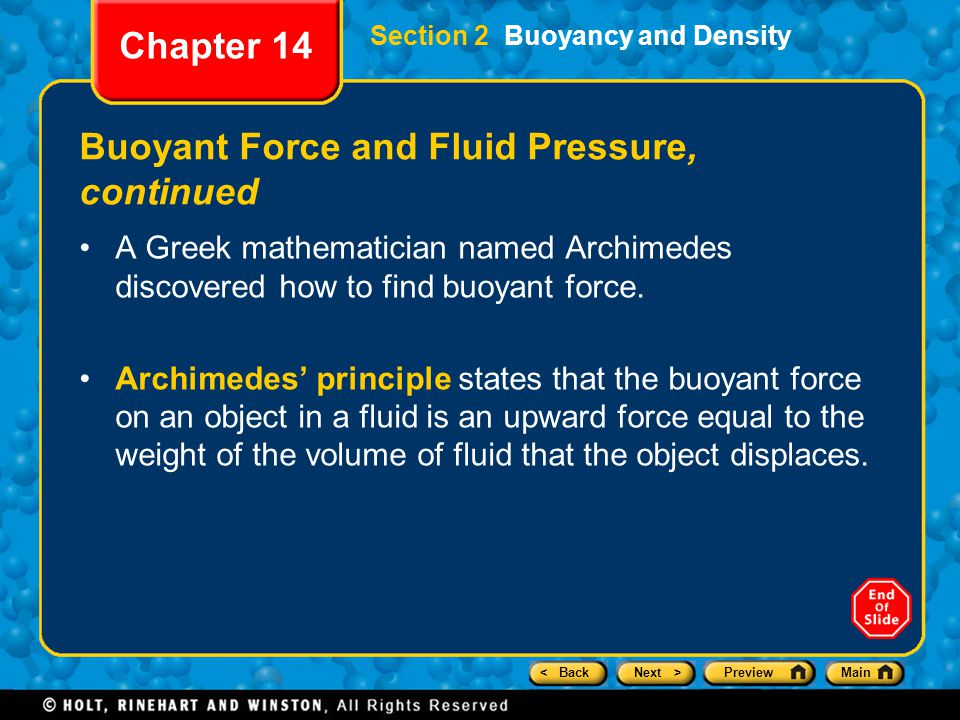 Buoyant Force and Fluid Pressure, continued