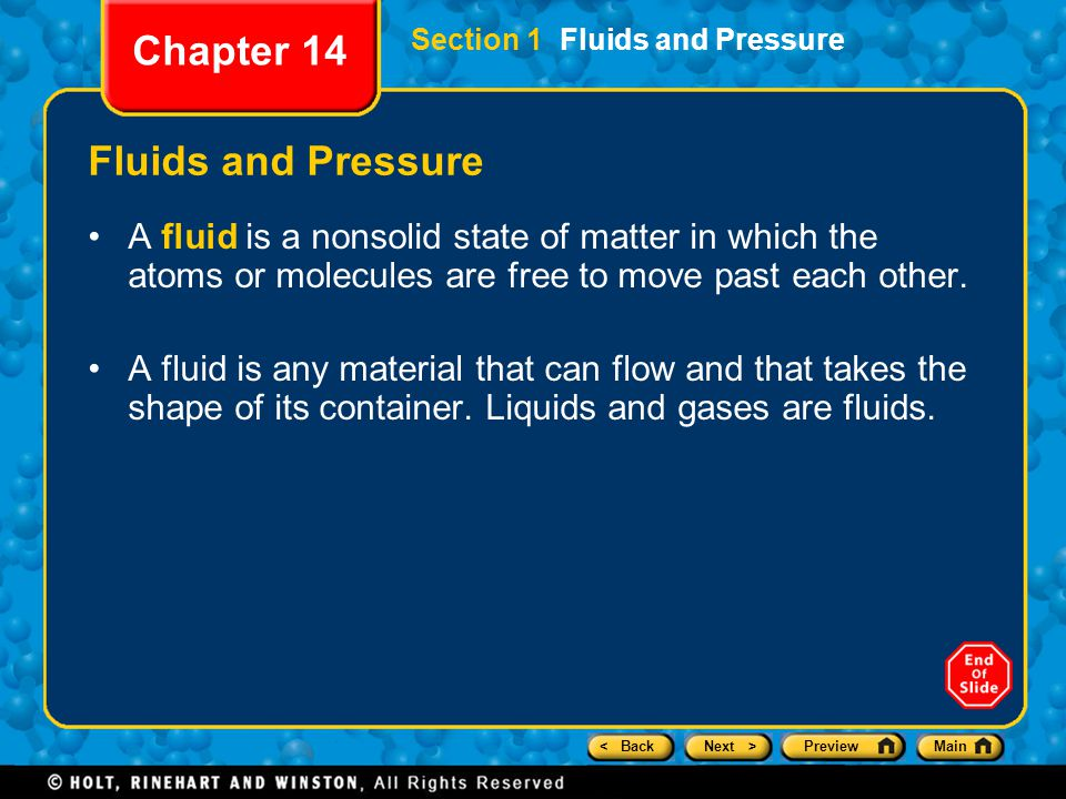 Chapter 14 Fluids and Pressure