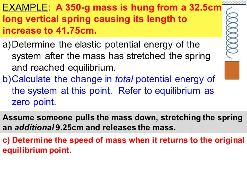 EXAMPLE: A 350-g mass is hung from a 32