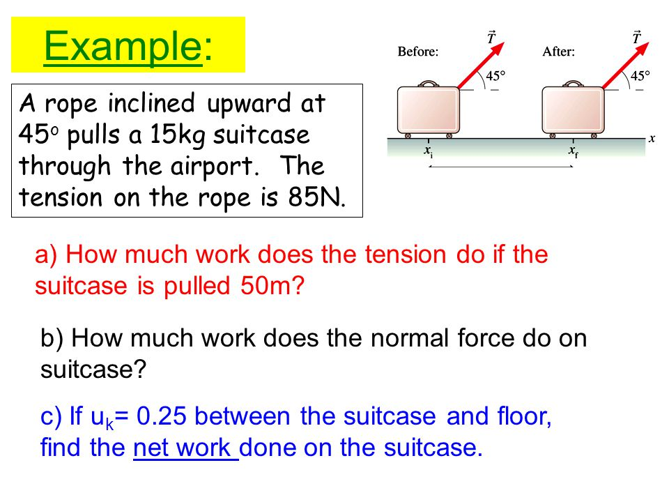 Example: A rope inclined upward at 45o pulls a 15kg suitcase through the airport. The tension on the rope is 85N.