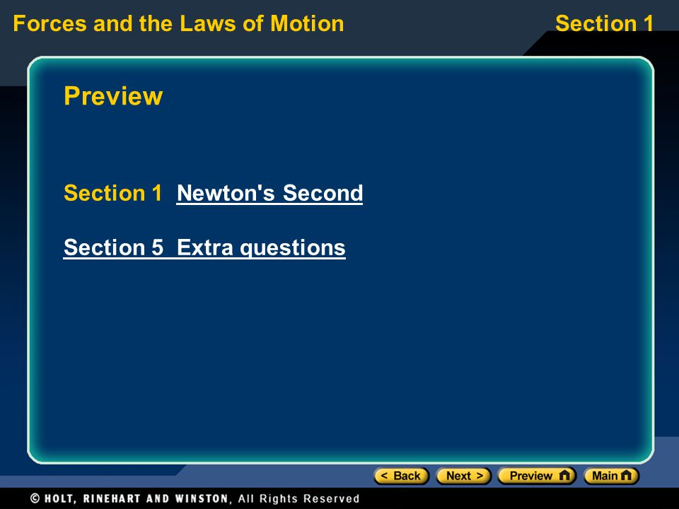 Preview Section 1 Newton s Second Section 5 Extra questions