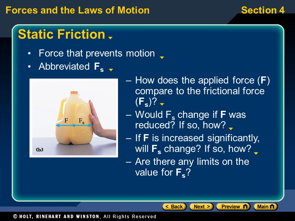 Static Friction Force that prevents motion Abbreviated Fs