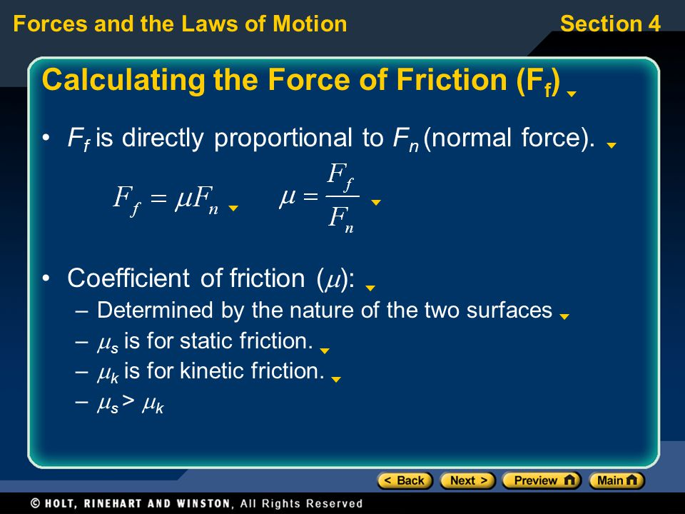 Calculating the Force of Friction (Ff)