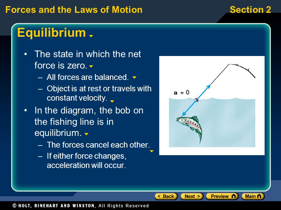 Equilibrium The state in which the net force is zero.