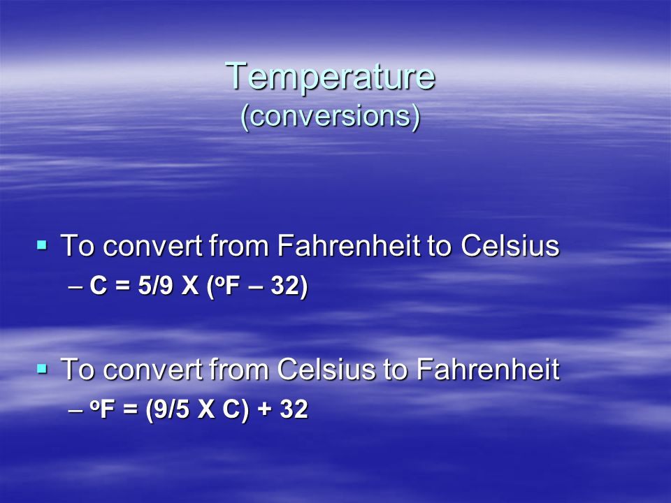 Temperature (conversions)