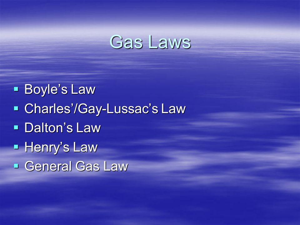 Gas Laws Boyle's Law Charles'/Gay-Lussac's Law Dalton's Law