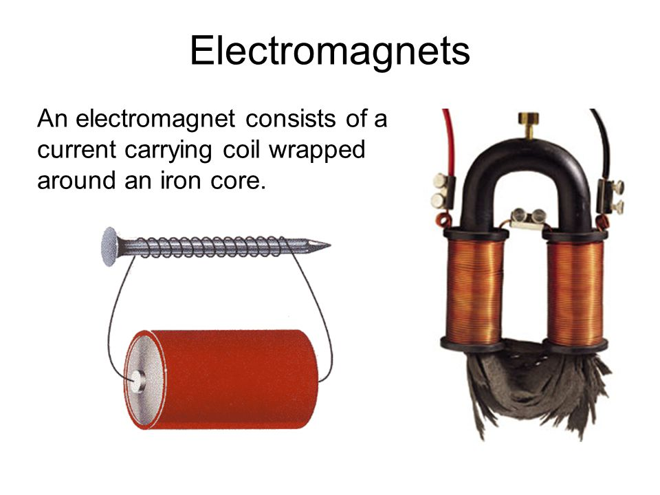 Electromagnets An electromagnet consists of a current carrying coil wrapped around an iron core. 22