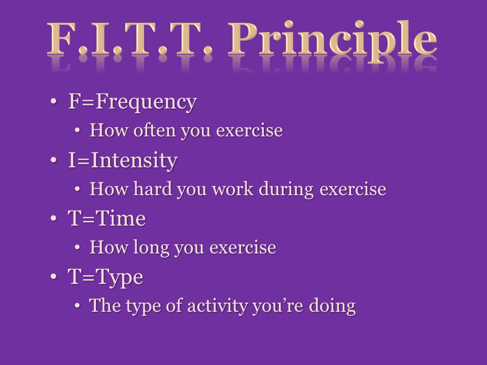 F.I.T.T. Principle F=Frequency I=Intensity T=Time T=Type