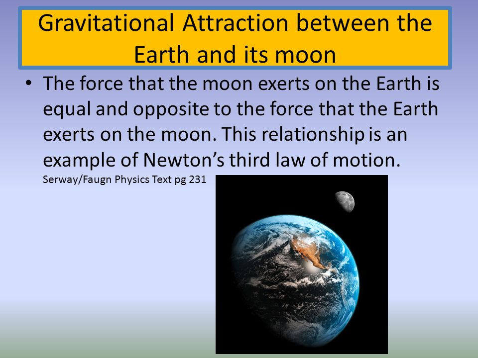 Gravitational Attraction between the Earth and its moon
