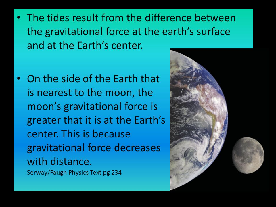 The tides result from the difference between the gravitational force at the earth's surface and at the Earth's center.