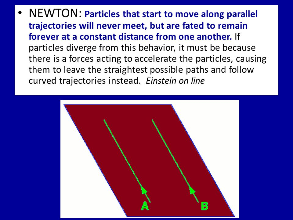 NEWTON: Particles that start to move along parallel trajectories will never meet, but are fated to remain forever at a constant distance from one another.