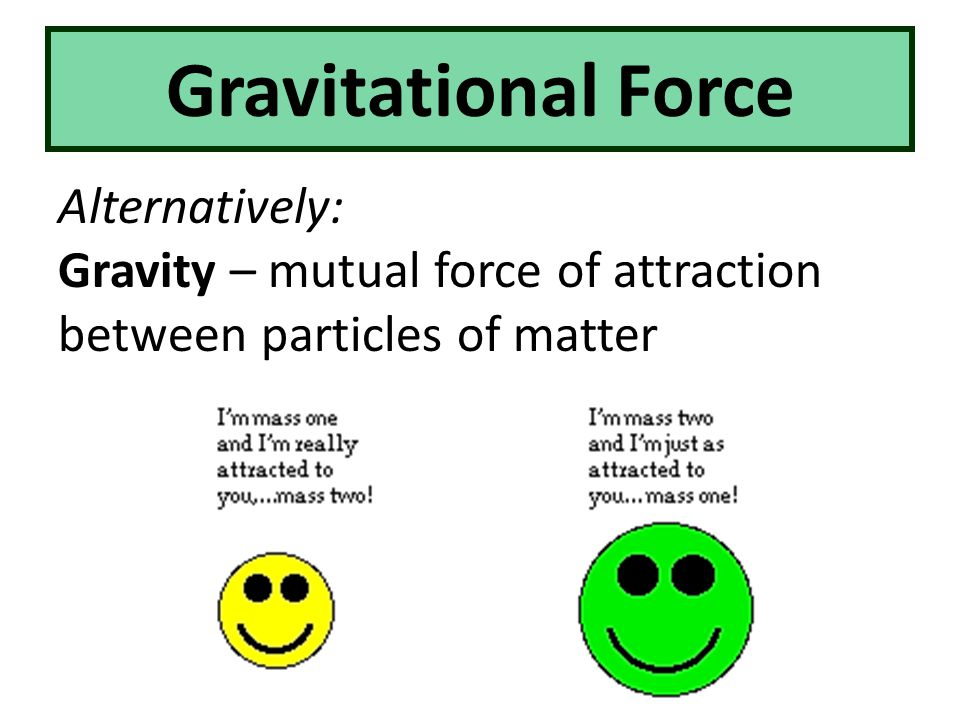 Gravitational Force Alternatively: Gravity – mutual force of attraction between particles of matter