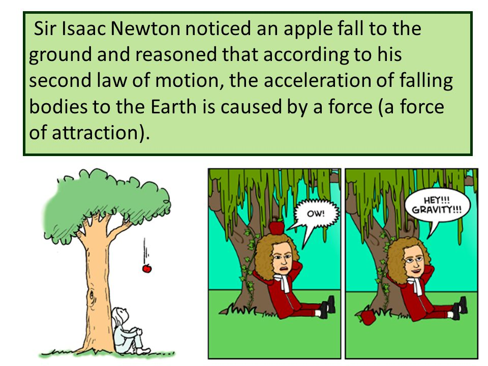 Sir Isaac Newton noticed an apple fall to the ground and reasoned that according to his second law of motion, the acceleration of falling bodies to the Earth is caused by a force (a force of attraction).
