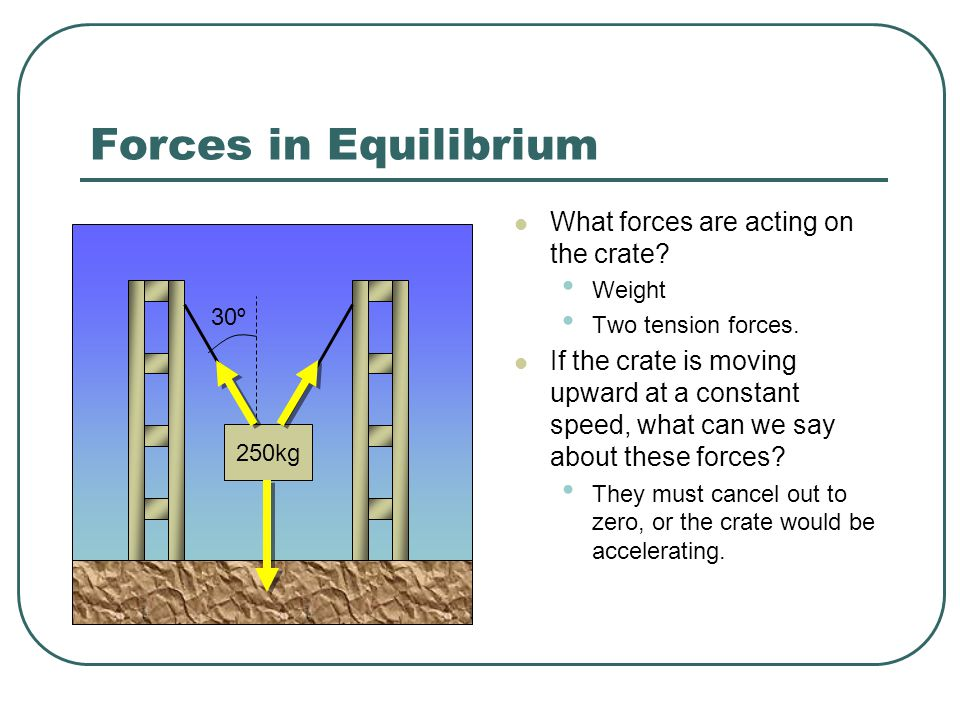 Forces in Equilibrium What forces are acting on the crate