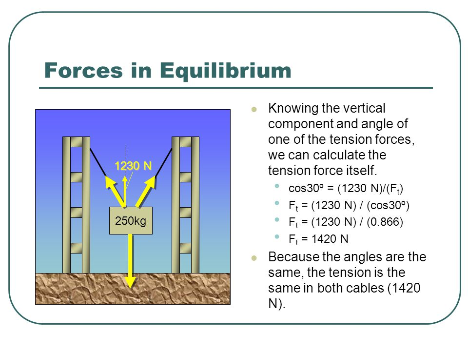 Forces in Equilibrium Knowing the vertical component and angle of one of the tension forces, we can calculate the tension force itself.