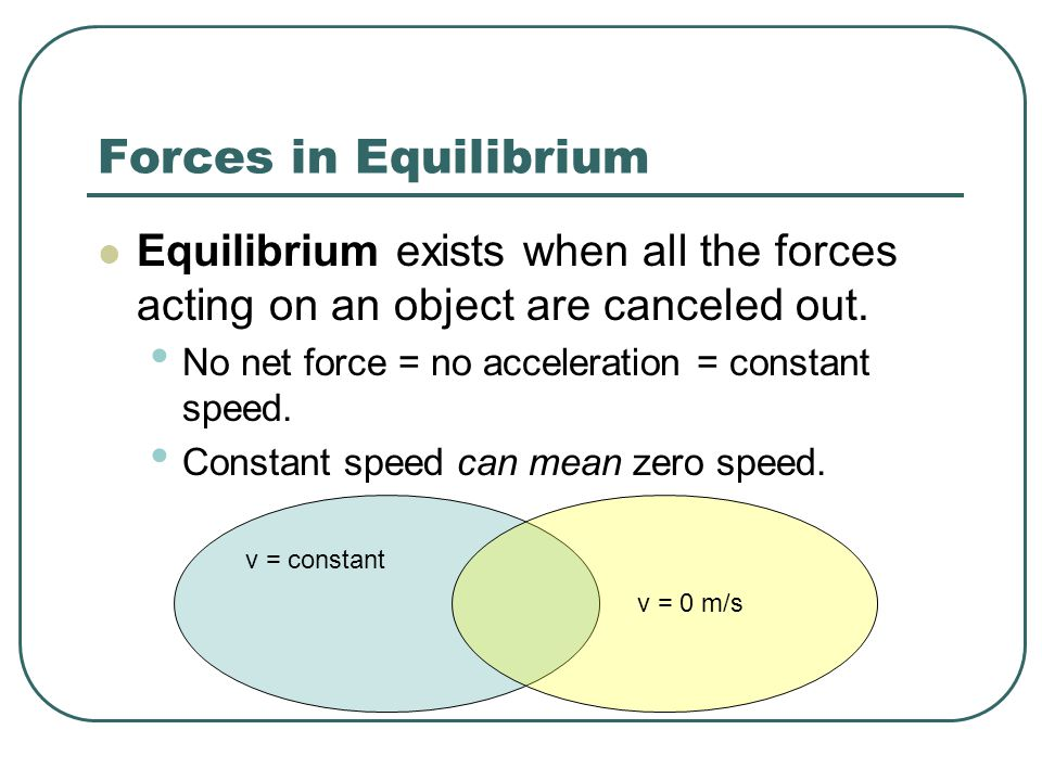 Forces in Equilibrium Equilibrium exists when all the forces acting on an object are canceled out. No net force = no acceleration = constant speed.