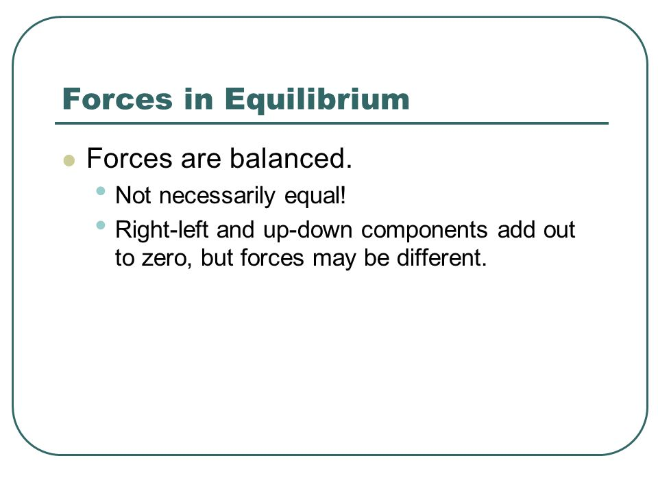Forces in Equilibrium Forces are balanced. Not necessarily equal!