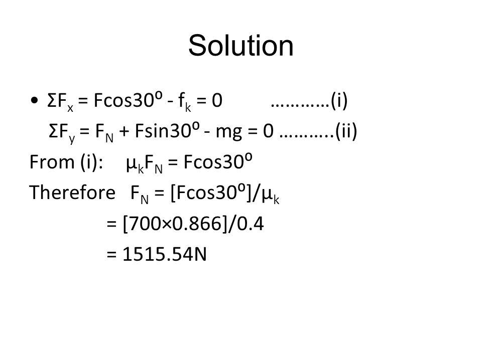 Solution ƩFx = Fcos30⁰ - fk = 0 …………(i)