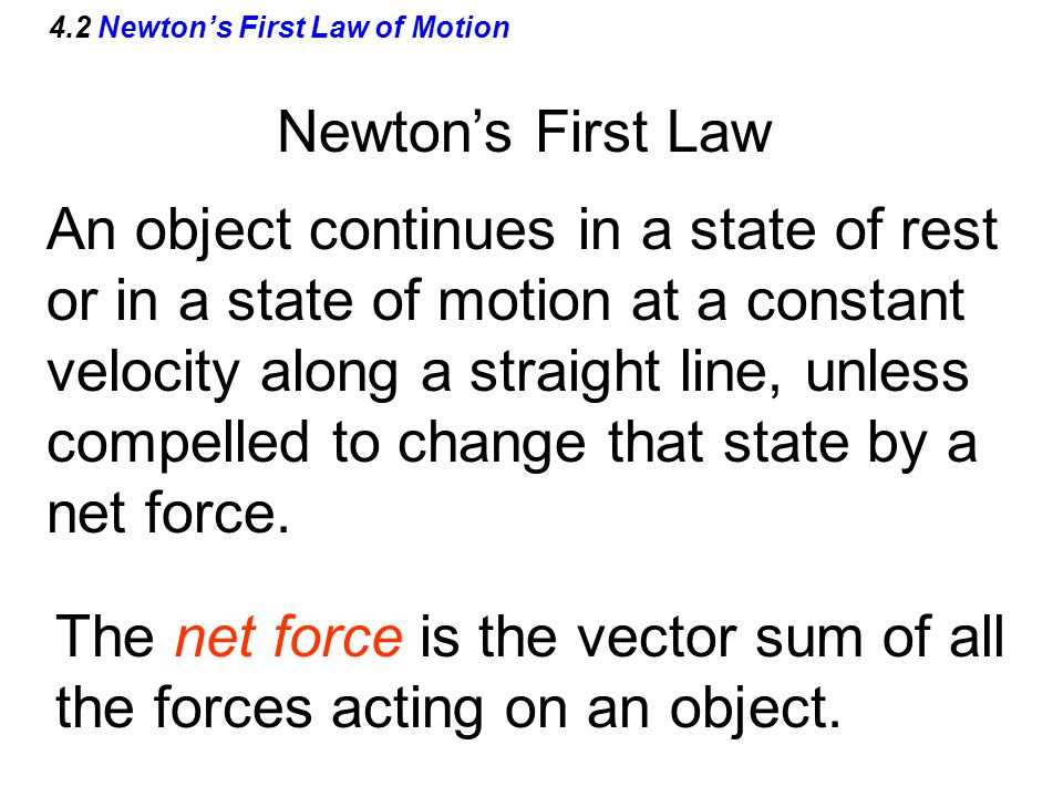 4.2 Newton's First Law of Motion