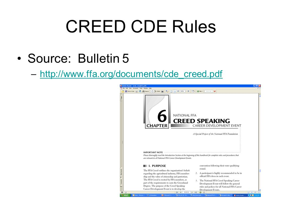 CREED CDE Rules Source: Bulletin 5