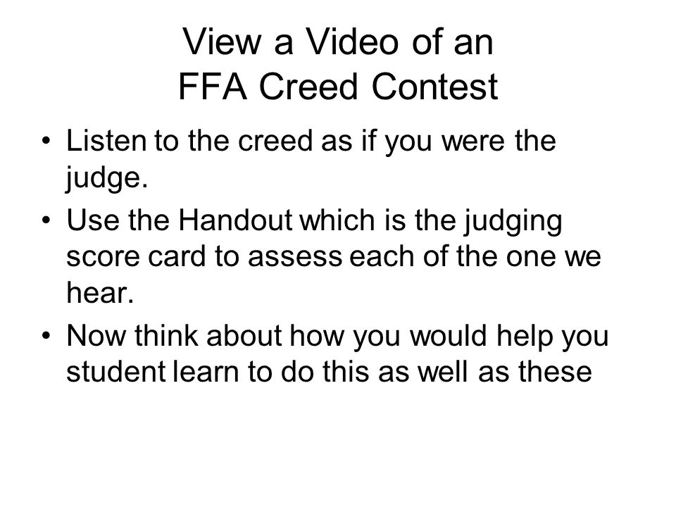 View a Video of an FFA Creed Contest