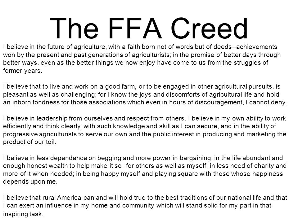 The FFA Creed The FFA Creed
