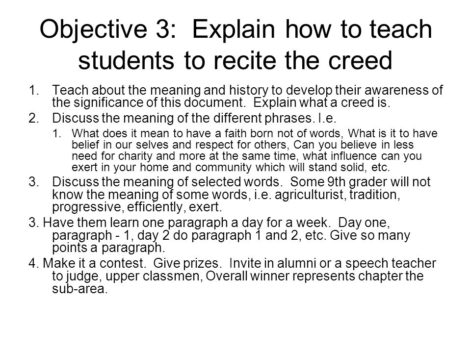 Objective 3: Explain how to teach students to recite the creed