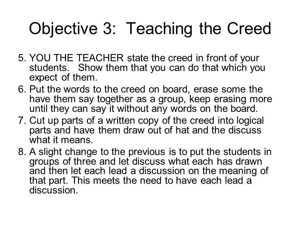 Objective 3: Teaching the Creed