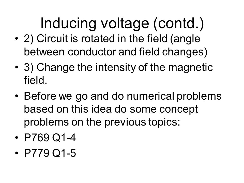 Inducing voltage (contd.)