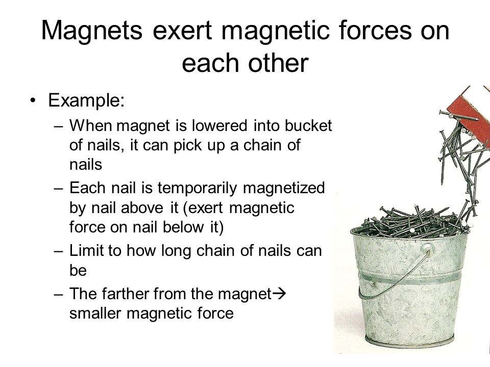 Magnets exert magnetic forces on each other