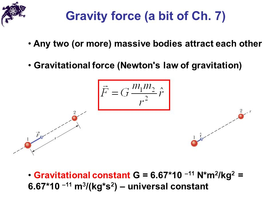 Gravity force (a bit of Ch. 7)