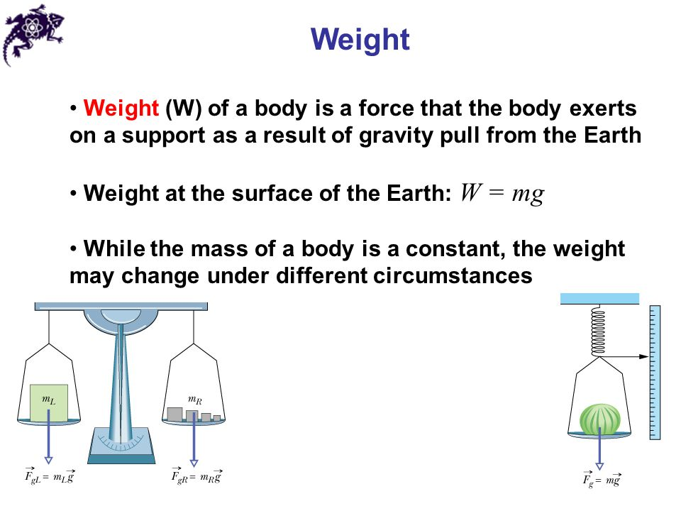Weight Weight (W) of a body is a force that the body exerts on a support as a result of gravity pull from the Earth.