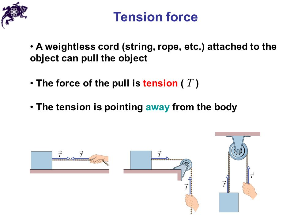 Tension force A weightless cord (string, rope, etc.) attached to the object can pull the object. The force of the pull is tension ( T )