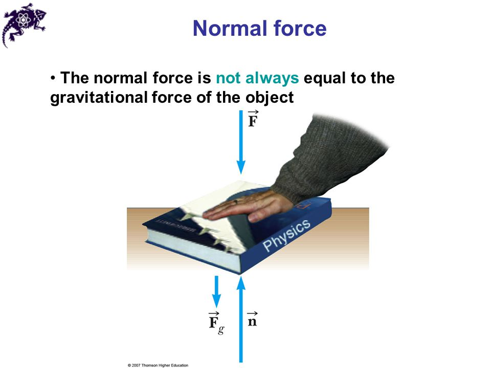 Normal force The normal force is not always equal to the gravitational force of the object