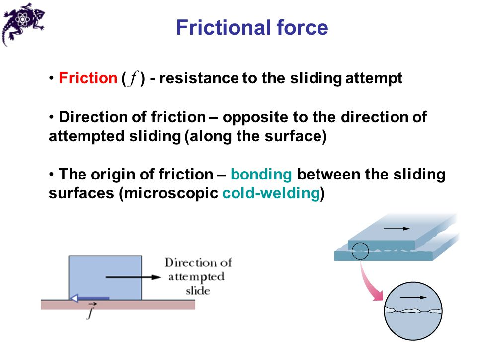 Frictional force Friction ( f ) - resistance to the sliding attempt
