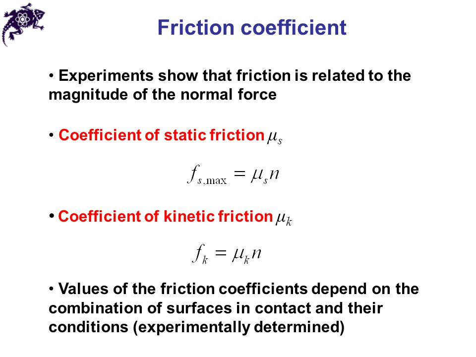 Friction coefficient Coefficient of kinetic friction μk