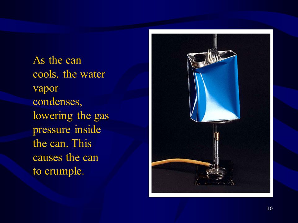 As the can cools, the water vapor condenses, lowering the gas pressure inside the can.