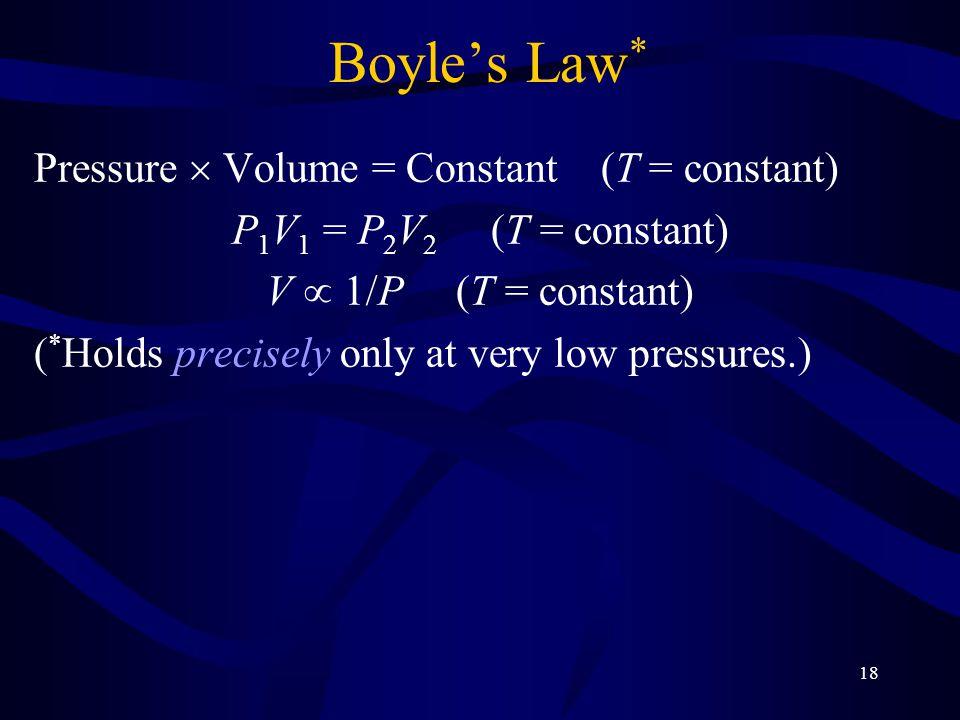 Boyle's Law* Pressure  Volume = Constant (T = constant)