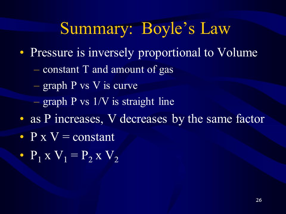 Summary: Boyle's Law Pressure is inversely proportional to Volume