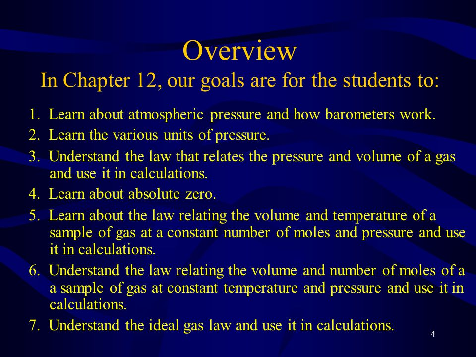 Overview In Chapter 12, our goals are for the students to: