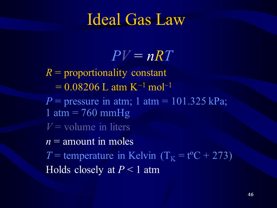 Ideal Gas Law PV = nRT R = proportionality constant