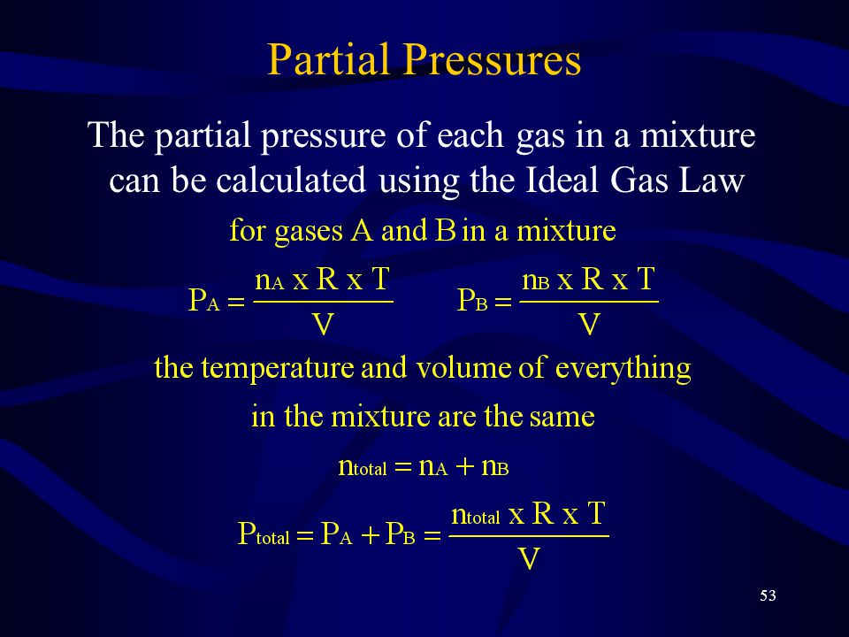Partial Pressures The partial pressure of each gas in a mixture