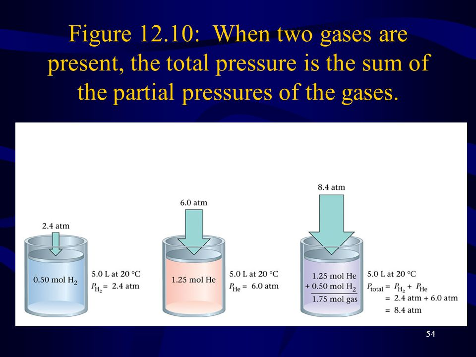 Figure 12.10: When two gases are present, the total pressure is the sum of the partial pressures of the gases.
