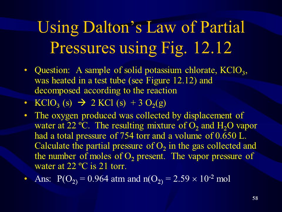 Using Dalton's Law of Partial Pressures using Fig. 12.12