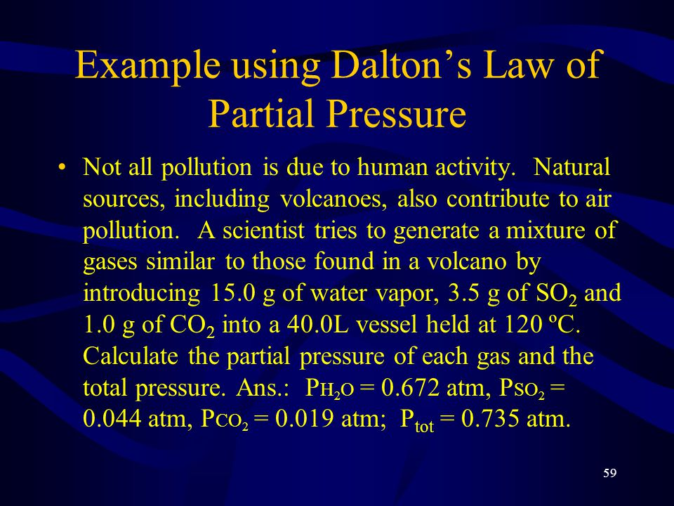 Example using Dalton's Law of Partial Pressure