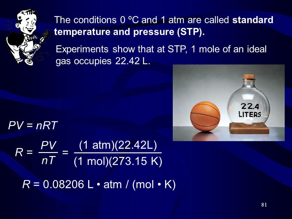 PV = nRT PV (1 atm)(22.42L) R = = nT (1 mol)(273.15 K)