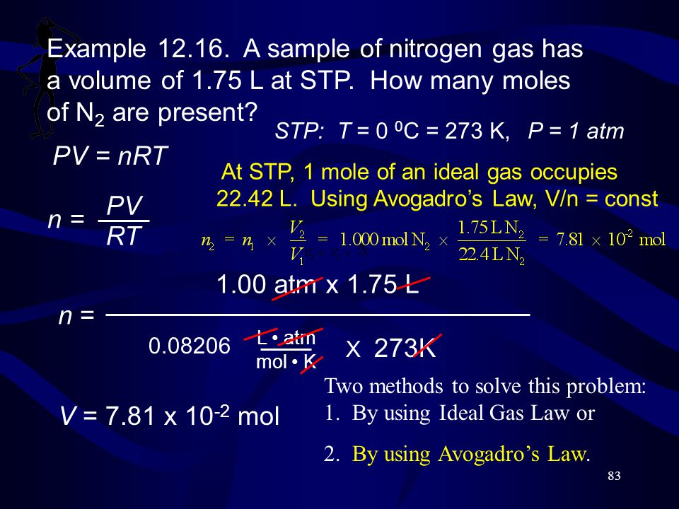 Example 12.16. A sample of nitrogen gas has a volume of 1.75 L at STP. How many moles of N2 are present