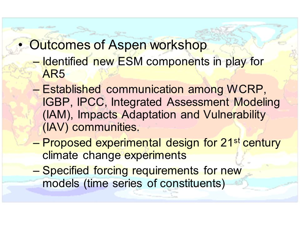 Outcomes of Aspen workshop